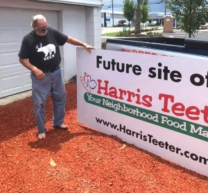 After many years of waiting for a Harris Teeter to open in Carolina Beach and a legal battle against a Publix Grocery Store opening on adjacent property,  the Harris Teeter property has now been put on the market for sale. Last week the sign was taken down and Danny at the Fat Pelican got one of the signs.