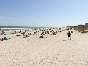 The beach strand was heavily populated with visitors on Friday. Town officials will begin closing beach access areas, asking people to leave the beach and begin patrols to enforce the closure.