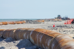 Beach nourishment project in Kure Beach, April 2019. (Photo from file).