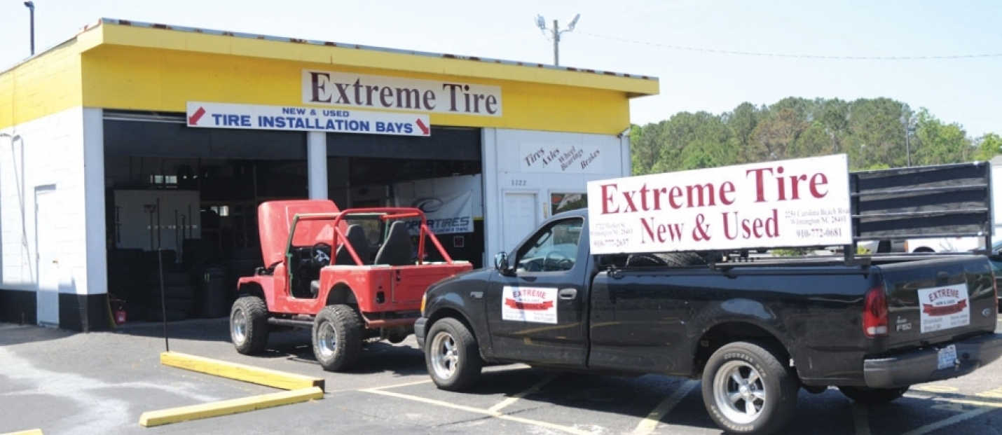 Extreme New and Used Tires is located in Wilmington at 2250 Carolina Beach Road just across the street from Legion Stadium and their second  location is at 3722 Market Street. They are open on Mondays through Fridays from 8 a.m. until 5 p.m. and on Saturdays they open at 8 a.m. and close at 1 p.m.  (the Market Street location closes at noon on Saturdays.)  For more information, call 910-772-0681 (Carolina Beach Road) or 910-777-2637 (Market Street)
