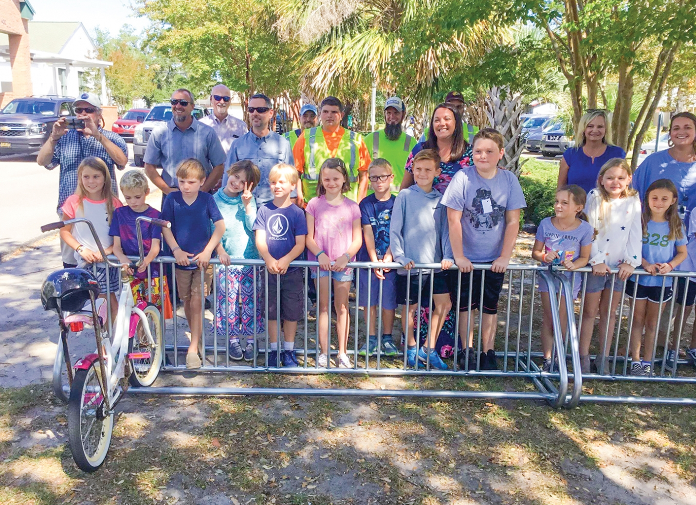 The Town of Carolina Beach purchased 32 bike racks to place at public areas throughout Town. The first two were delivered to the Carolina Beach Elementary School on Tuesday September 24th.