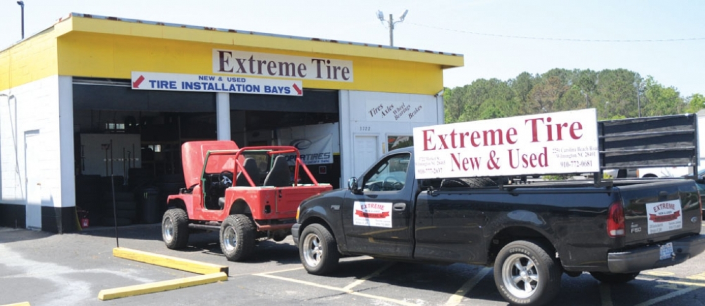 Extreme New and Used Tires is located in Wilmington at 2250 Carolina Beach Road (Pictured Above) just across the street from Legion Stadium and their second location is at 3722 Market Street. They are open on Mondays through Fridays from 8 a.m. until 5 p.m. and on Saturdays they open at 8 a.m. and close at 1 p.m. (the Market Street location closes at noon on Saturdays.)  For more information, call 910-772-0681 (Carolina Beach Road) or 910-777-2637 (Market Street).