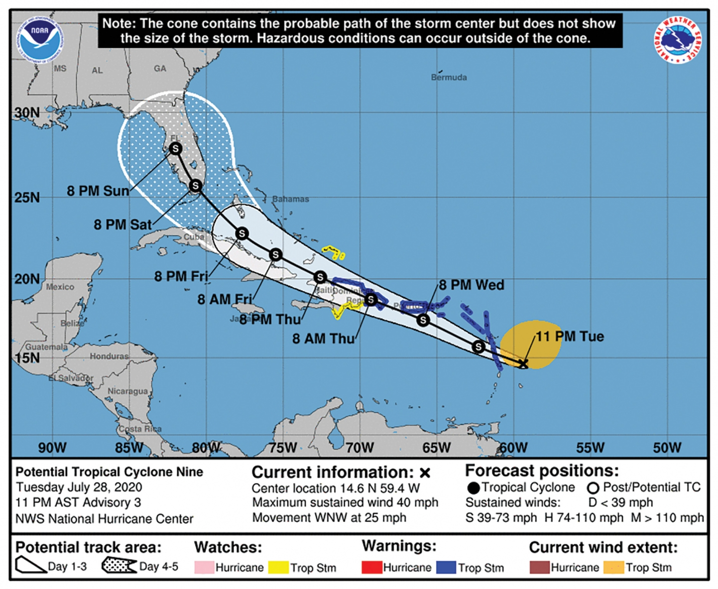 "The National Hurricane Center (NHC) is tracking a  ""Potential Tropical Cyclone Nine"" and forecasted on Tuesday July 28th, the storm reaching Florida over the weekend. While it's still early and predictions can change in the days to come,  everyone should monitor the storm's path and prepare."