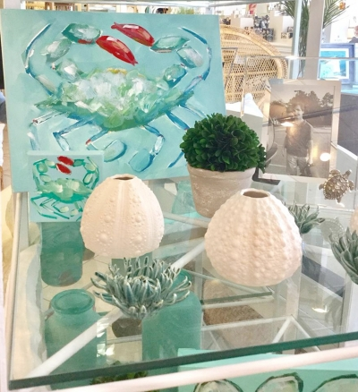 "Come be inspired by the Sea, Crabby Chic is located at 4107-B Oleander Drive in the Anderson Square Shopping Center. They can be reached by calling (910)799-4216. Follow and ""Like"" Crabby Chic on facebook, there you will find updates on brand new arrivals and contests, you can also find them online by visiting www.crabbychic.com"