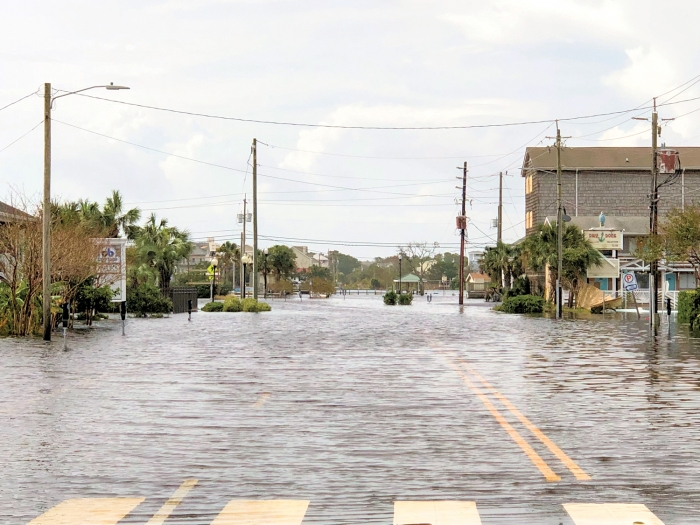 Lake Park Blvd and Hamlet Avenue in Carolina Beach following Hurricane Florence, 2018. Flooding occurred in areas around the lake in Carolina Beach.