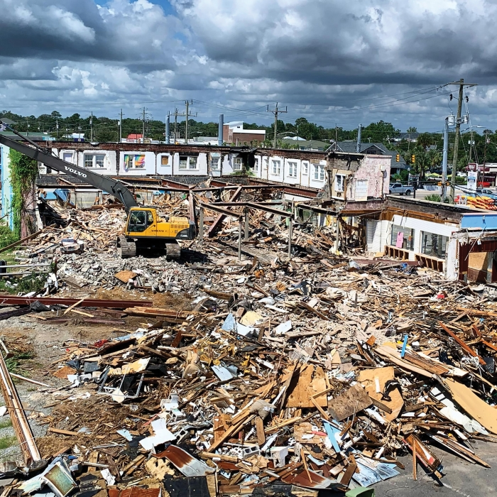 The old Ocean Beachwear building at the corner of Lake Park Blvd. and Cape Fear Blvd. was demolished last week to make way for a new mixed-use commercial and residential development.  (Photo: Jasmine Mckee)