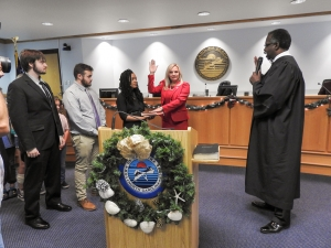 Leann Pierce was sworn in as the first female Mayor of Carolina Beach on Dec. 10th.