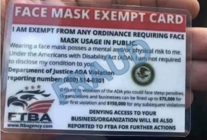 "COVID-19 ""Exempt"" Cards Not Authorized by U.S. Dept. of Justice"