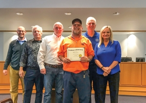 Kenny Lewis was recognized for his 35-years of service with the Town of Carolina in the Operatios Department during the Carolina Beach Town Council's Febauary 25th, meeting. (Pictured above: Left to right: Assistant Town Manager Ed Parvin, Council members Steve Shuttleworth, Jay Healy, Kenny Lewis, Council member Lynn Barbee and Mayor Leann Pierce.)