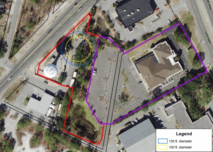 The Town of Carolina Beach has been in negotiations with the Carolina Beach Presbyterian Church this year in order to purchase a portion of their property in order to facilitate construction of a new water storage tank and treatment plant at 801 N. Dow Road. The Council purchased the Dow Road property earlier this year for $400,000 and needs additional room to locate the new storage tank adjacent to the existing water tower and the church property.
