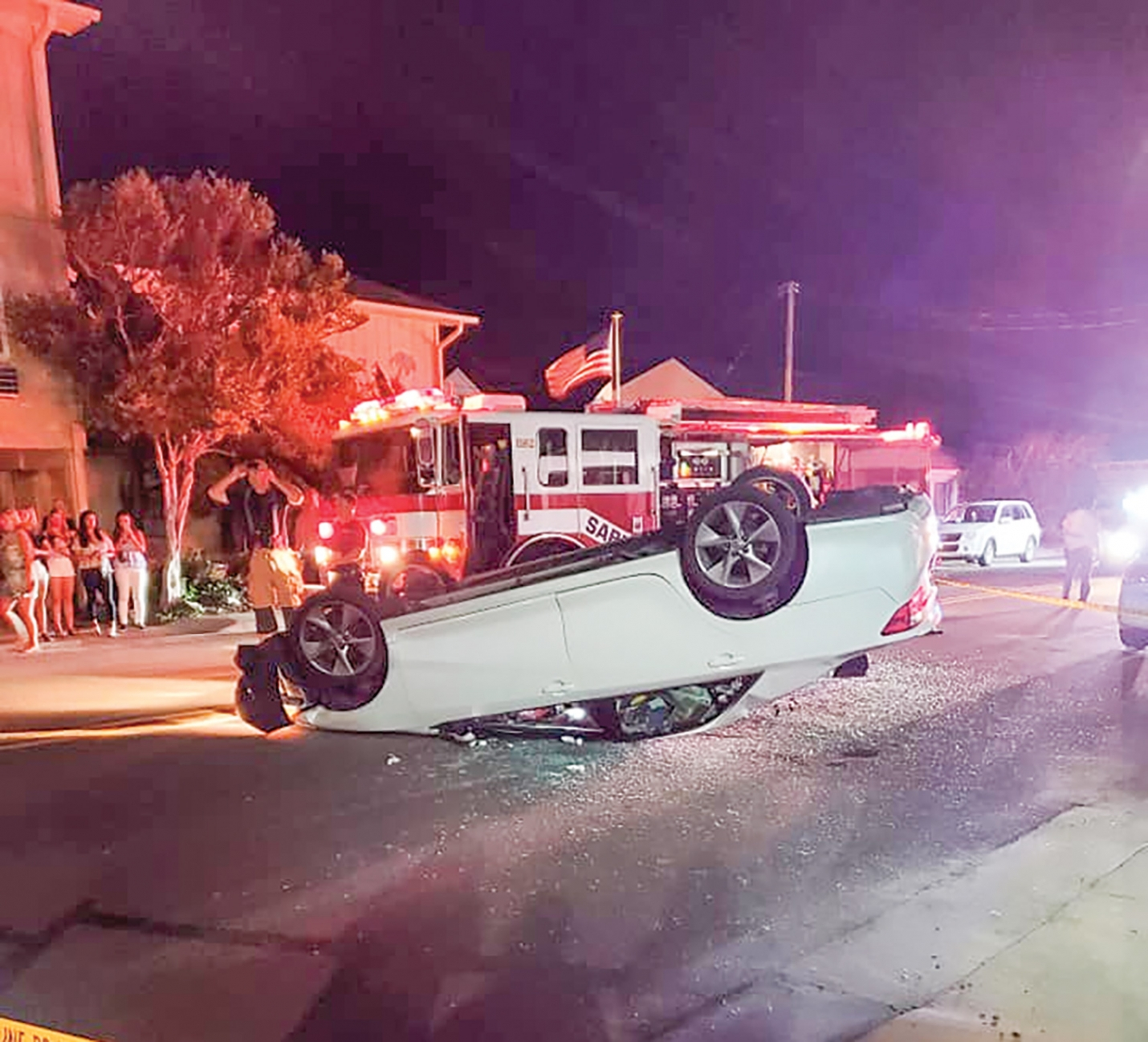 The Kure Beach Police Department is currently investigating a two vehicle auto accident that occurred Friday night, July 17th resulting in a passenger vehicle overturning in the middle of Fort Fisher Blvd. (Photo: Terri L. Chabot  via Facebook).