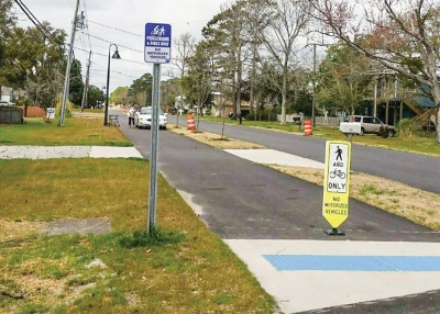 The Carolina Beach Town Council agreed during a November 27th, workshop to apply for a federally funded grant to install a multi-use bike and pedestrian path along Clarendon Avenue connecting the area around the Carolina Beach Elementary School to Mike Chappel Park on Dow Road.  (Pictured above: Recently constructed path along Cape Fear Blvd. )