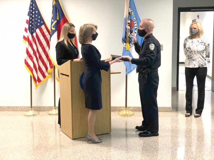 The Town of Carolina Beach held an official swearing in ceremony at Town Hall on Monday January 25th for recently hired Police Chief Vic Ward. Ward takes the position following the retirement of former Police Chief Chris Spivey.