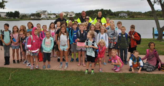 CBES Students Walk to School with Carolina Beach Police Dept.